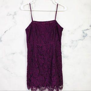 Chaser Purple Lace Sleeveless Mini Dress